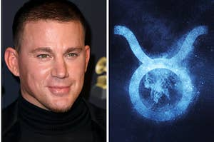 Channing Tatum is on the left smiling with a Taurus sign on the right