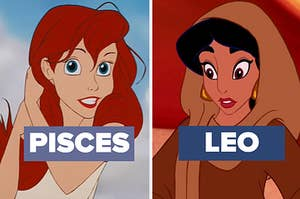 ariel with pisces next to her and jasmine with leo next to her