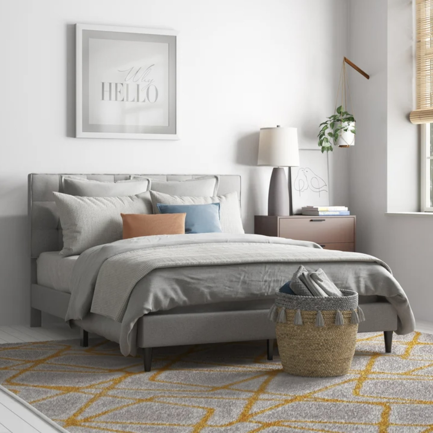 The platform bed in a grey color