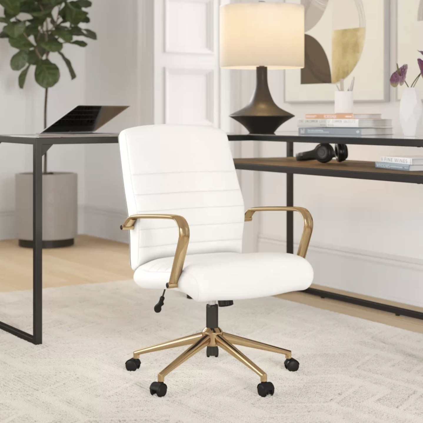 A white office chair with gold accents