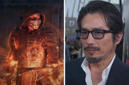 Hiroyuki Sanada as Scorpion side by side with a red carpet photo of him