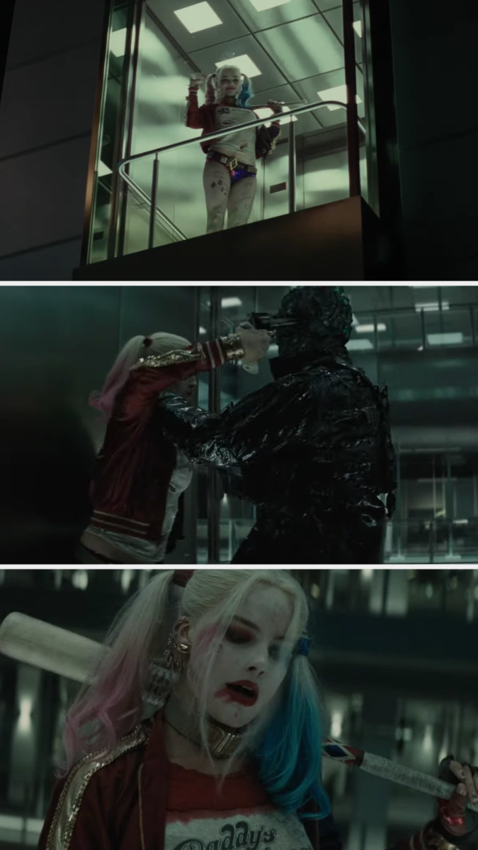 Harley fights a monster
