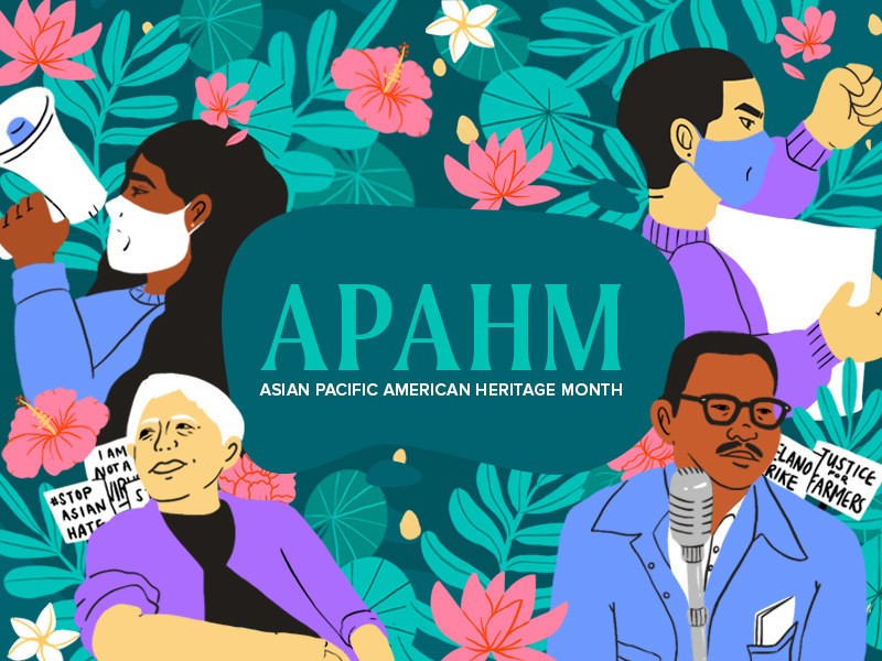 APAHM graphic showing different illustrations of people speaking out, flowers, and plants