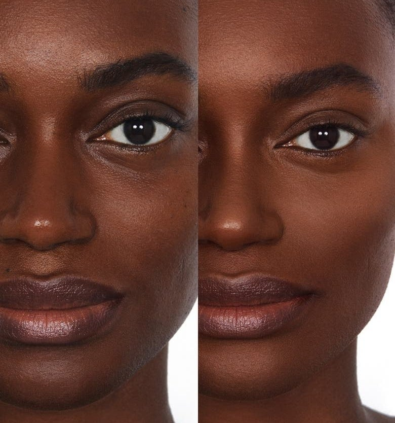 A model without and with the foundation on, with a smoother complexion after
