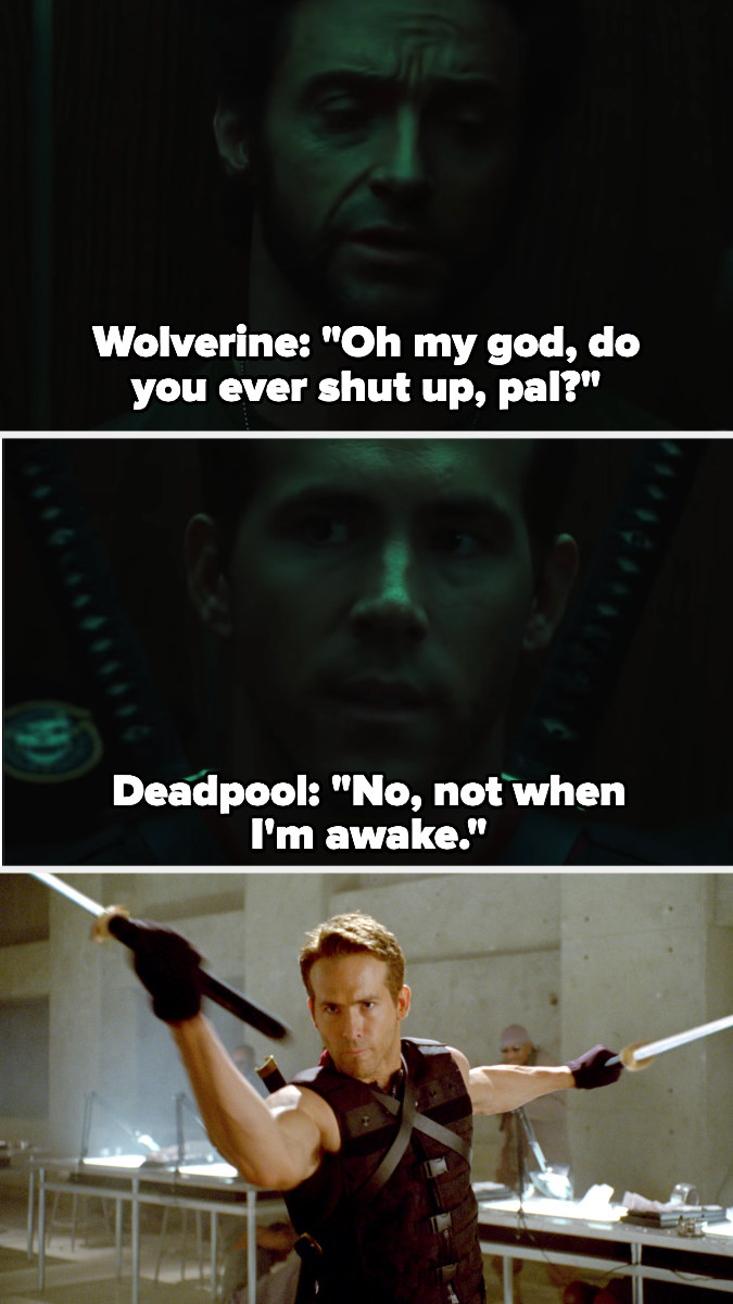 Deadpool sasses Wolverine before killing a bunch of people with katanas