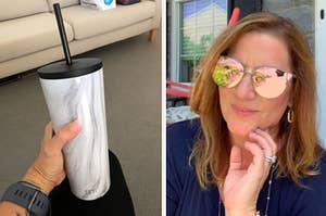 insulated tumbler on the left and a person wearing sunglasses on the right