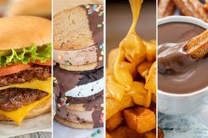芝士汉堡,冰淇淋三明治,奶酪薯条和巧克力法郎