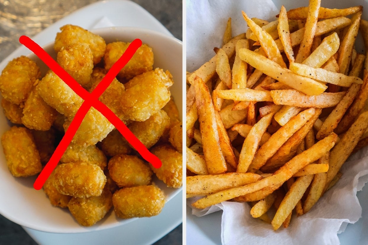 Tater tots with an X and french fries