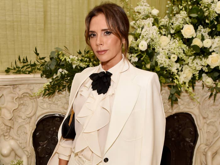 Victoria wears a white suit to an event