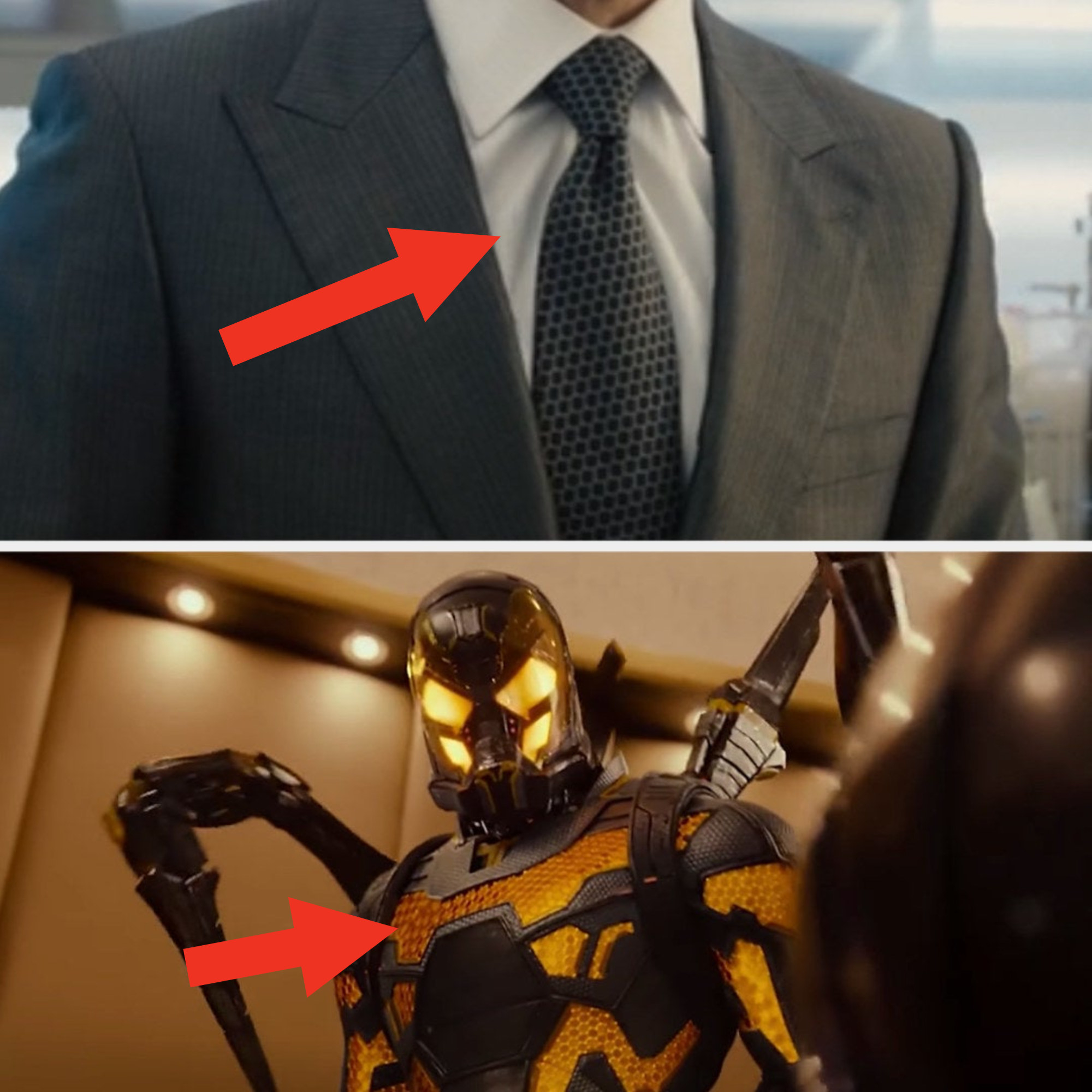 Darren wearing a tie with hexagonal patterns and then him later in the Yellowjacket suit