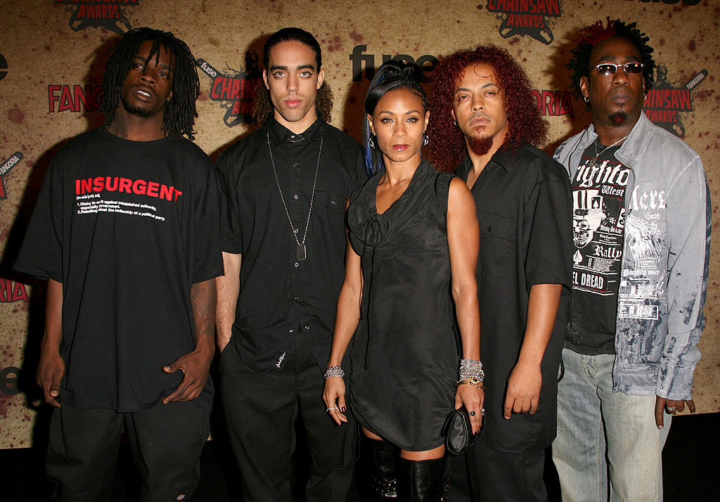 Jada with the four members of Wicked Wisdom on a red carpet