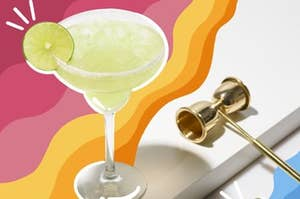 Classic margarita with salted rim and lime garnish.