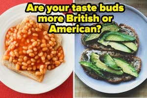 Baked beans are on the left with avocado toast on the right labeled,
