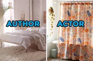 """On the left, a simple, sunny bedroom with an exposed brick wall, bed, and fuzzy rug labeled """"author,"""" and on the right, a bright bedroom with a bold, floral shower curtain above the tub labeled """"actor"""""""