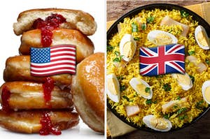 Jelly donuts are on the left labeled with an American flag emoji and rice dish on the right with an American flag emoji