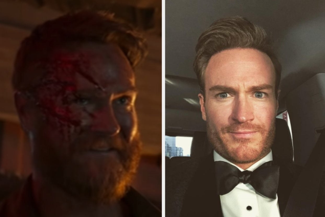 Josh Lawson as Kano side by side with a photo of him in a tuxedo