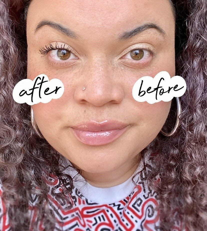 buzzfeed editor's eyes before and after using the mascara with the done lashes looking darker and longer