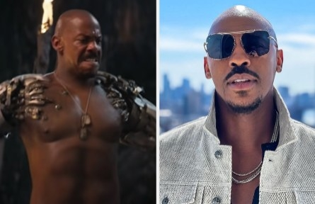Mehcad Brooks as Jax side by side with a photo of him with sunglasses on
