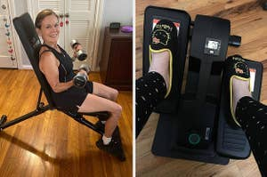 on left, reviewer uses weight bench while lifting barbells. on right, reviewer uses desk elliptical