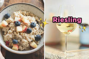 "On the left, some oatmeal topped with apple and blueberries, and on the right, a glass of white wine labeled ""Riesling"" with sparkle emojis around it"