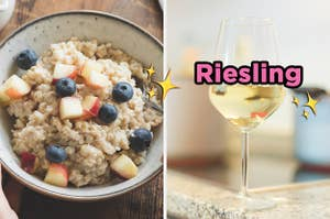 On the left, some oatmeal topped with apple and blueberries, and on the right, a glass of white wine labeled