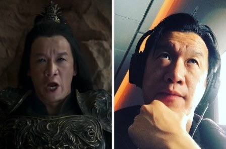 Chin Han as Shang Tsung side by side with a photo of him on a plane