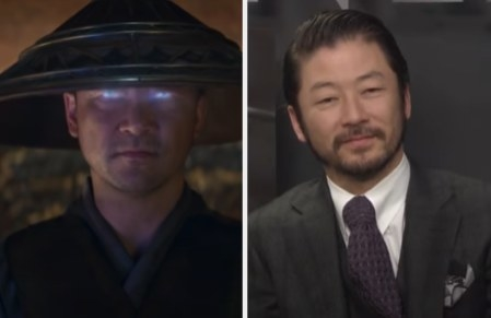 Tadanobu Asano as Lord Raiden side by side with a photo of him in a suit
