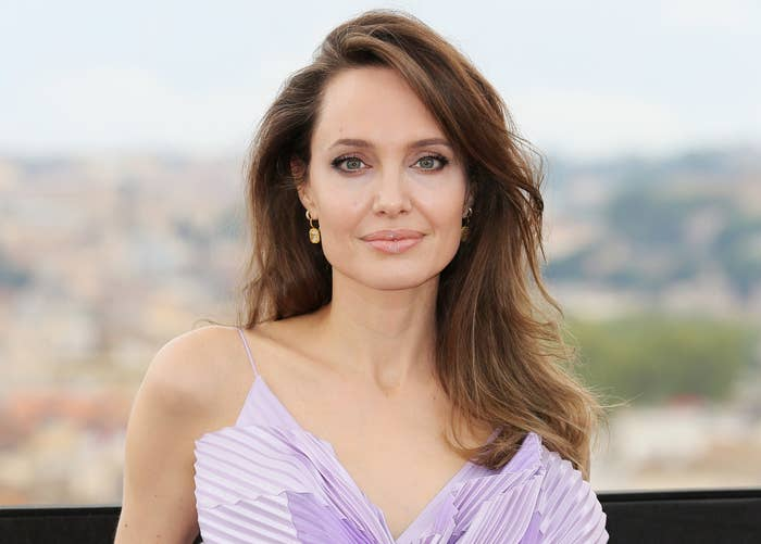 Angelina smiles softly at a press event