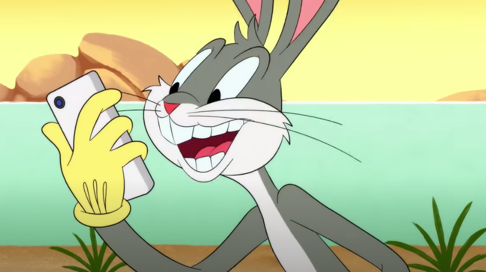 Screenshot of Bugs Bunny talking on a smart phone