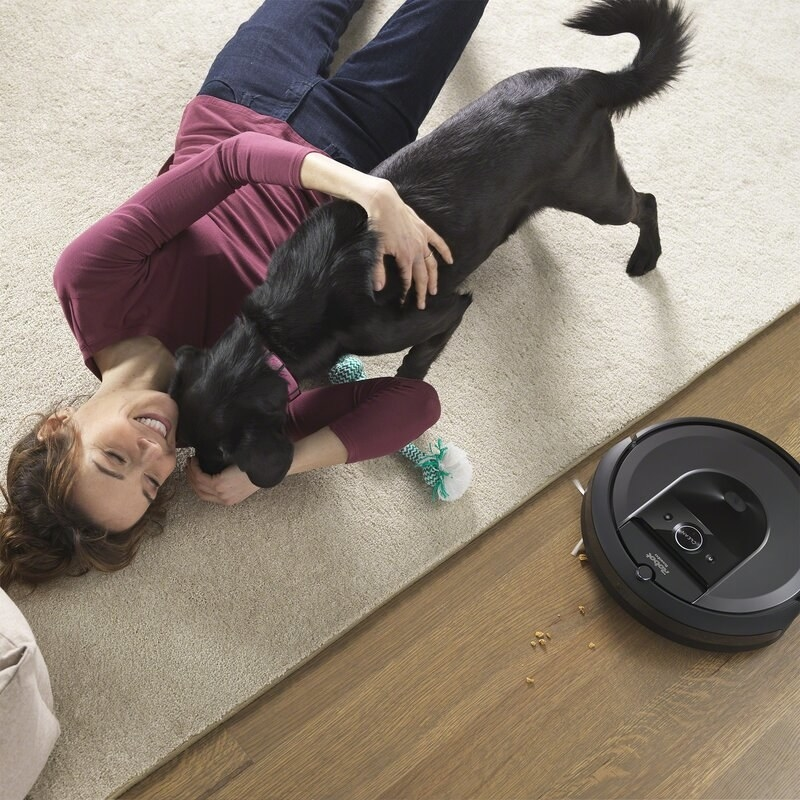 The Roomba cleans next to a model and dog