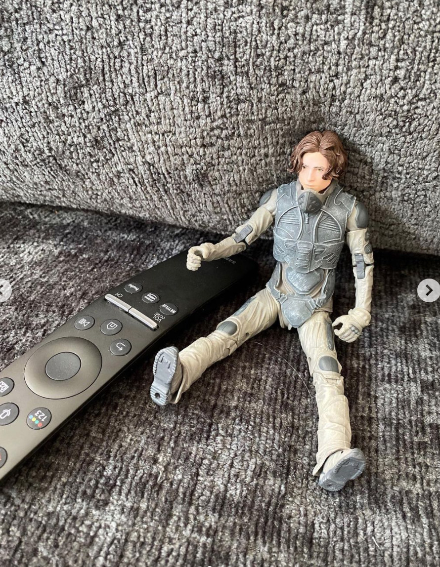 Chalamet's Dune action figure sitting next to a remote control