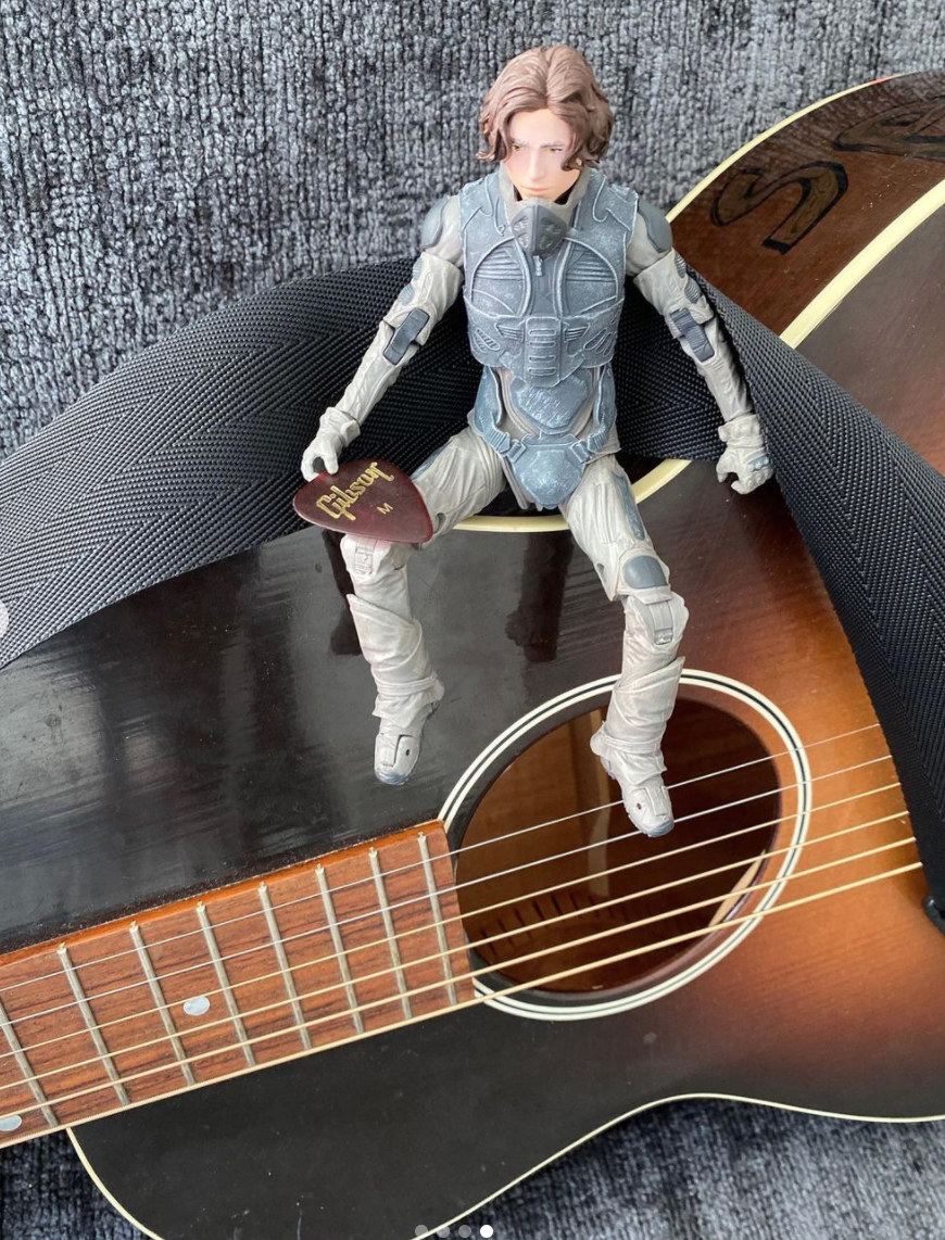 Chalamet's action figure sitting on top of a guitar
