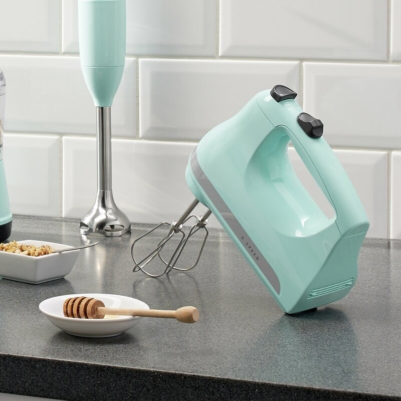 The mixer in Ice Blue on a counter