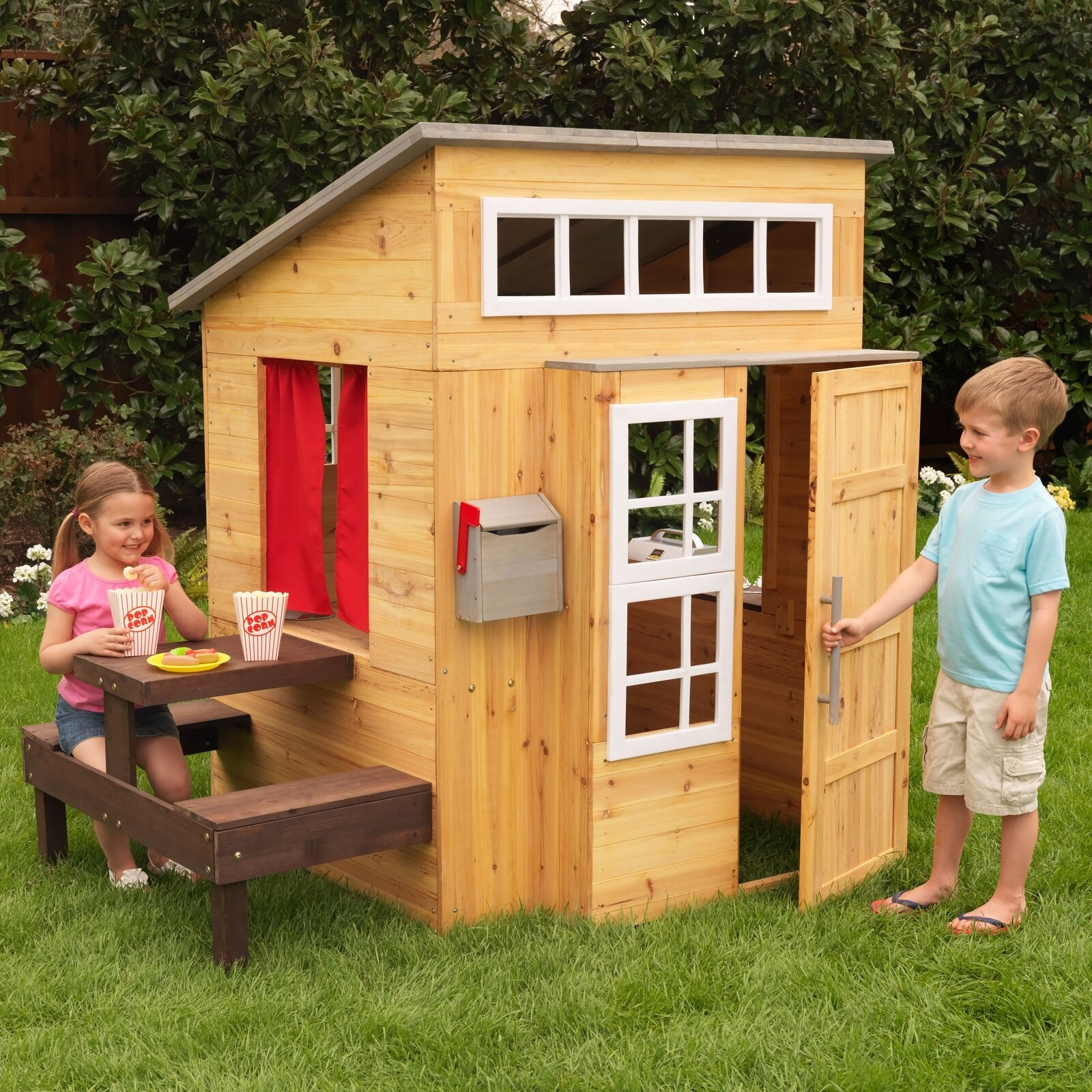 Children play with the house