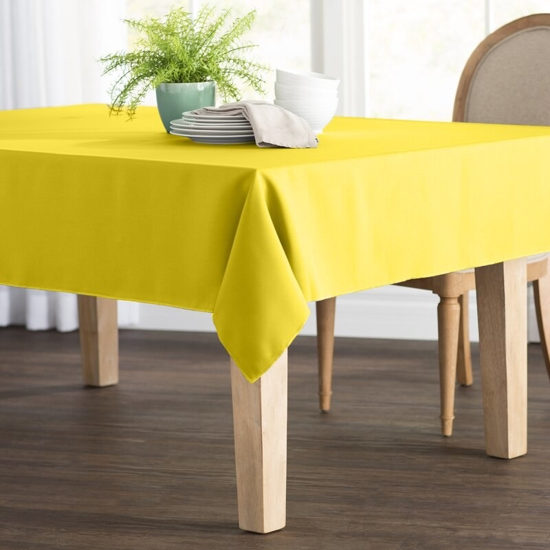The tabletop in yello