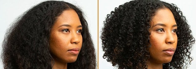 Before photo of model with flat, frizzy curls and after photo showing the products gave the curls more definition and reduced frizz