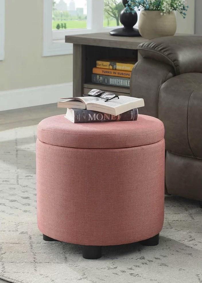 Coral pink storage ottman