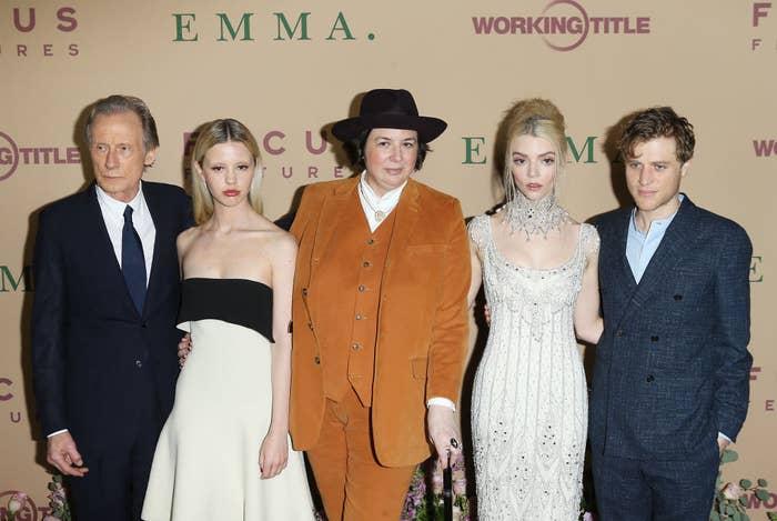 "(L-R) Bill Nighy, Mia Goth, Autumn de Wilde, Anya Taylor-Joy and Johnny Flynn attend the Los Angeles premiere of Focus Features' ""Emma."""