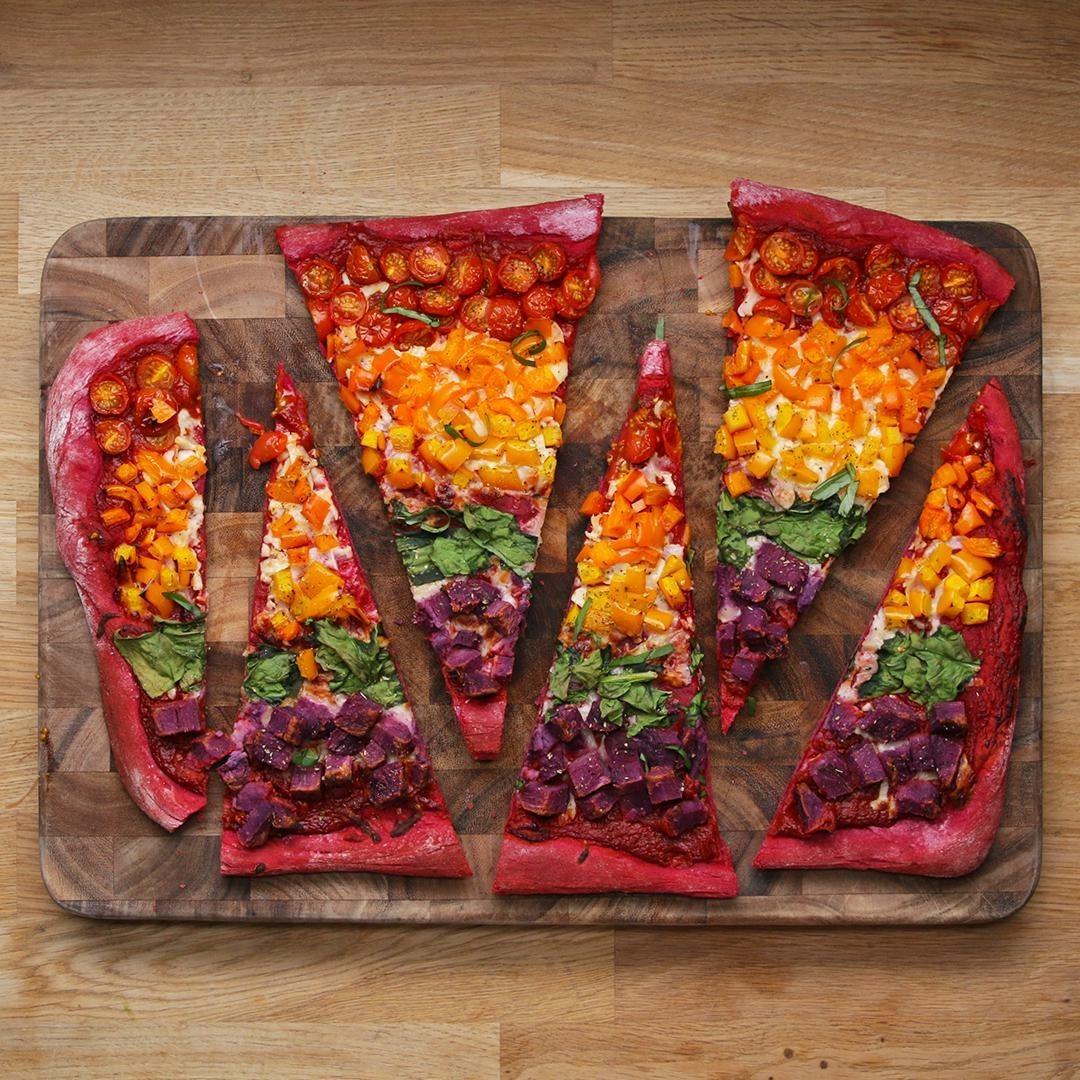 Rainbow sheet pan pizza