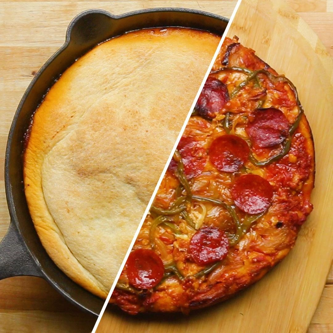 Upside-down one-pan pizza