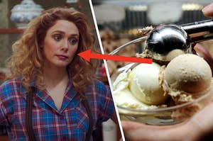 """Elizabeth Olsen as Wanda Maximoff stands with her hands on her hips during an episode of the show """"WandaVision"""" and a hand holds a glass bowl with two scoops of ice cream while another hand uses an ice cream scooper to place a third scoop in the bowl."""