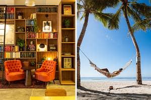 舒适的书架在海滩的吊床的图象旁边