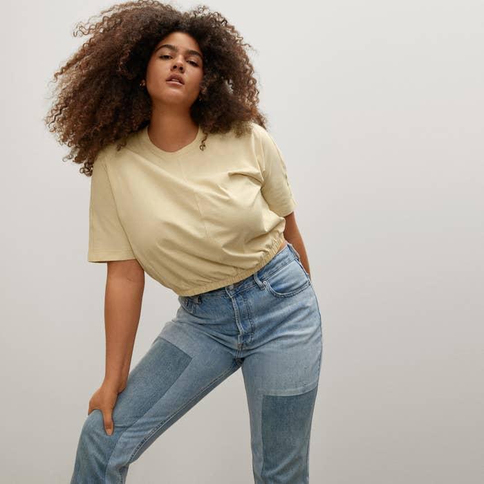 Model wearing tee shirt