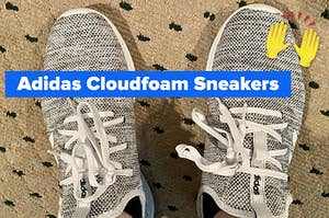 "buzzfeed editor's grey and white fabric sneakers captioned ""adidas cloudfoam sneakers"" with a hands up and together emoji"