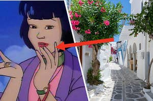 Gi from Captain Planet and the Planteers holds a magic ring in the palm of her hand and a stone street leads into a narrow alley in Greece.