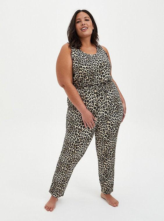 Model wearing printed jumpsuit