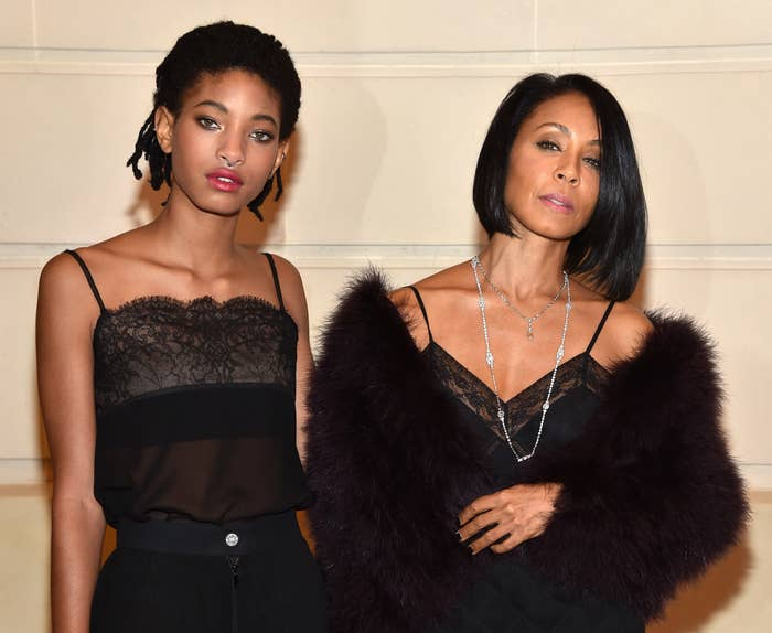 Willow and Jada in black spaghetti-strap outfits