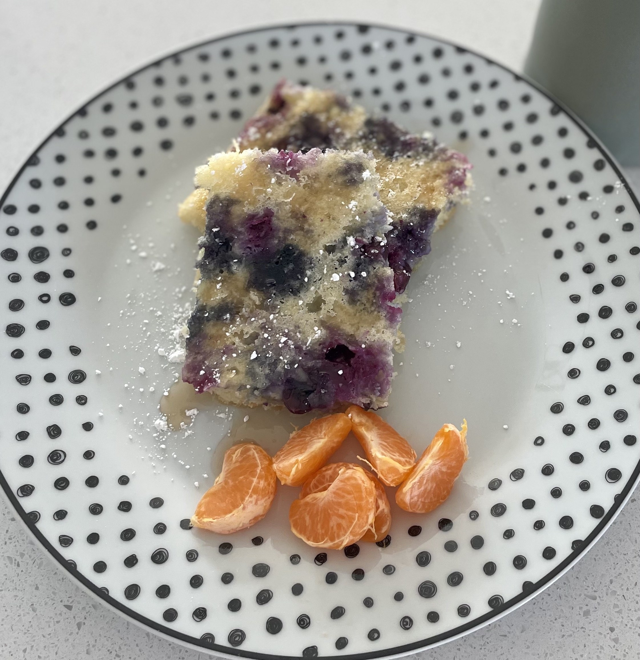 Lemon-Blueberry Sheet Pan Pancakes plated