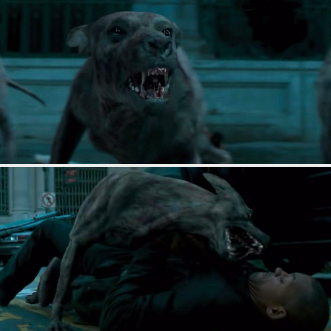 Mutant dogs attacking Neville