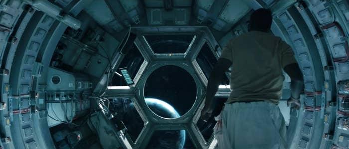 Man inside a spaceship